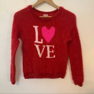 JUICY COUTURE Girl's Red Love Eyelash Sweater  Med